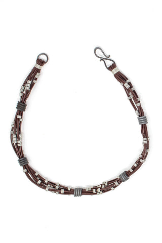 Multi strand necklace in chocolate