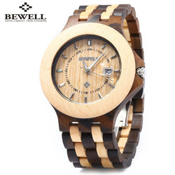 Bewell Dual-Colored Wood Link Watch