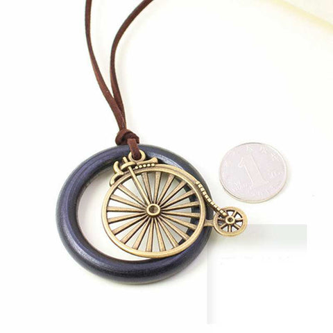Ancient Wooden Bike Necklace