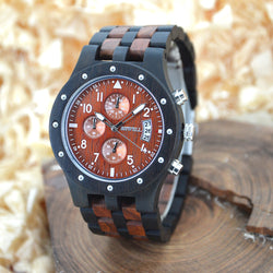 BEWELL Bamboo Wood Watch with Three Dial Display