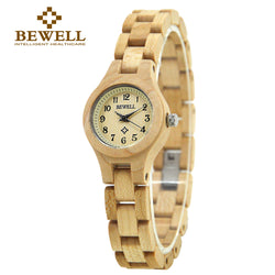 BEWELL Women's Full Link Bamboo Wood Watch