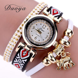 Duoya Gold Elephant Quartz Bracelet Watch