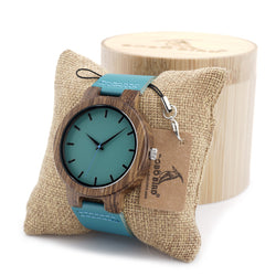 BOBO Bird Bamboo Wood Watch with Blue Strap