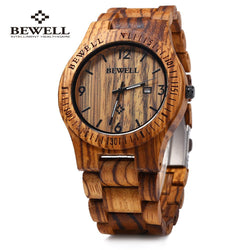 Bewell Natural Bamboo Full Wood Link Watch