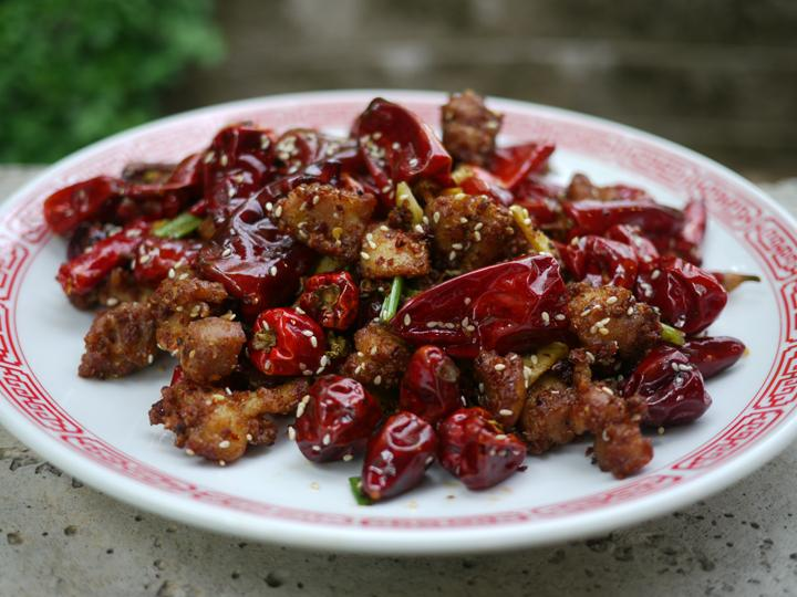 Red lantern chilies in Chongqing chicken