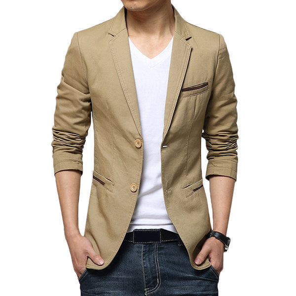 Casual Slim Fit Pure Color Blazer-Outerwear-banggood-Khaki-S-Shopangy.com