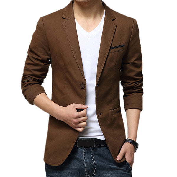 Casual Slim Fit Pure Color Blazer-Outerwear-banggood-Brown-S-Shopangy.com