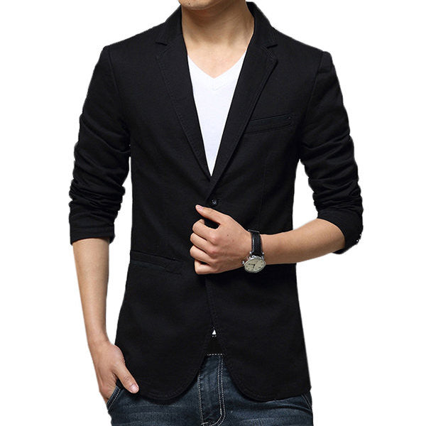 Casual Slim Fit Pure Color Blazer-Outerwear-banggood-Black-S-Shopangy.com