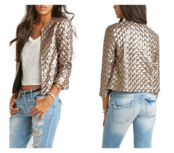 Sequins Gold Jacket-Outerwear-Shopangy.com