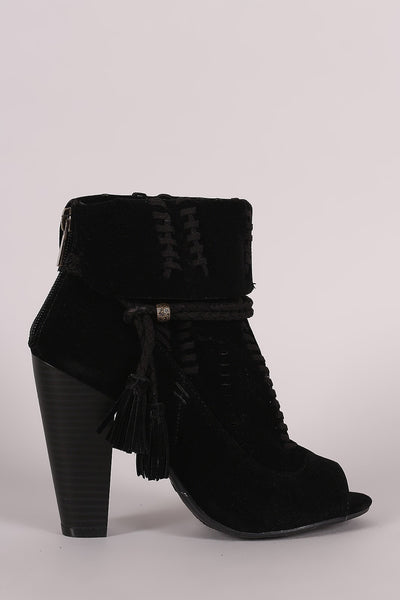 Bamboo Perforated Suede Cuff Tassel-Tie Chunky Heeled Booties-Shoes, Booties-CollectiveFab-Cognac-6-Shopangy.com