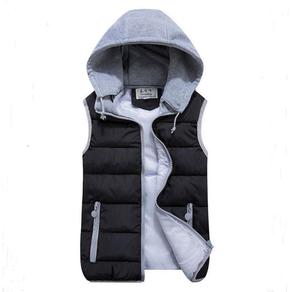 Women's cotton wool collar hooded down vest Removable hat-Outerwear-Shopangy.com