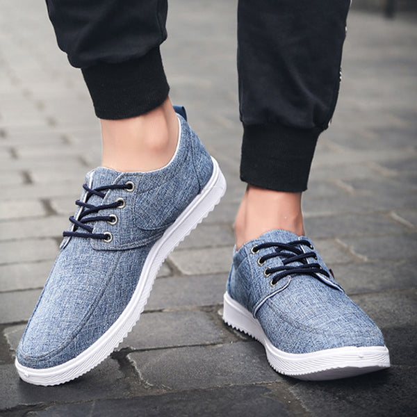 Men Round Toe Lace-up Flat Canvas Shoes