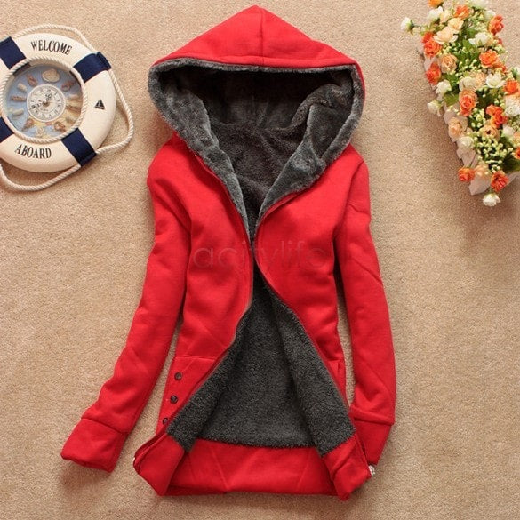Autumn and Winter Women Fleeve Hoodies Casual Sweatshirt-Shopangy.com-Red-L-Shopangy.com