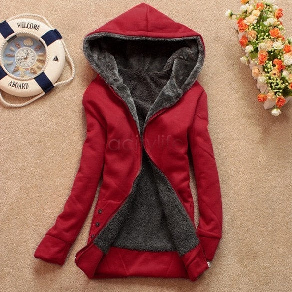 Autumn and Winter Women Fleeve Hoodies Casual Sweatshirt-Shopangy.com-Wine Red-L-Shopangy.com