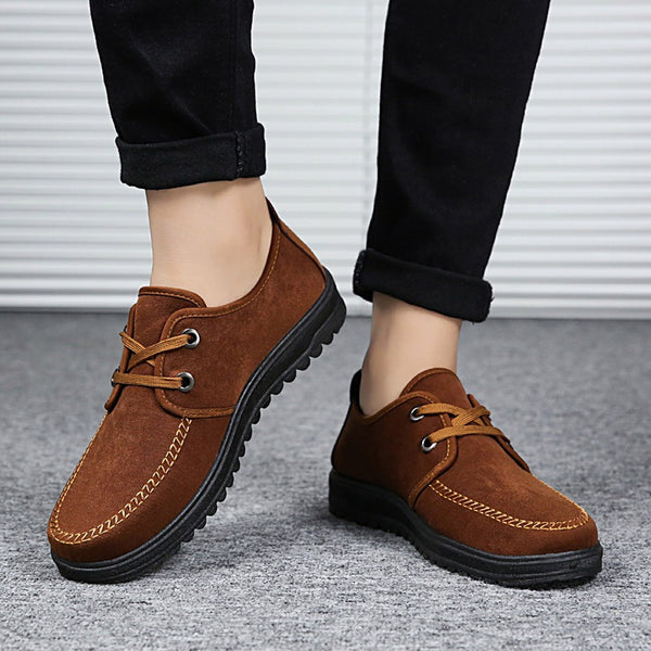 Men Breathable Non-Slip Shoes Casual Shoes Lace-Up Shoes Round Toe Flat Shoes