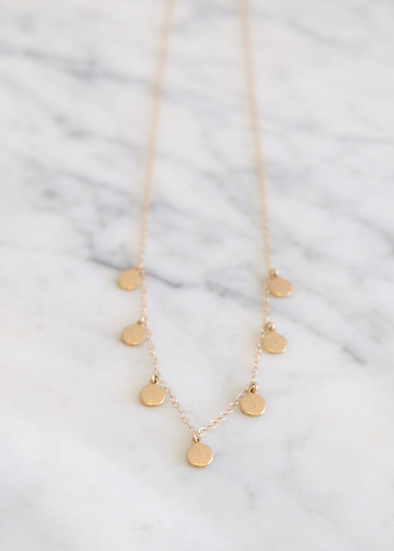 14k Gold Seven Disc Necklace
