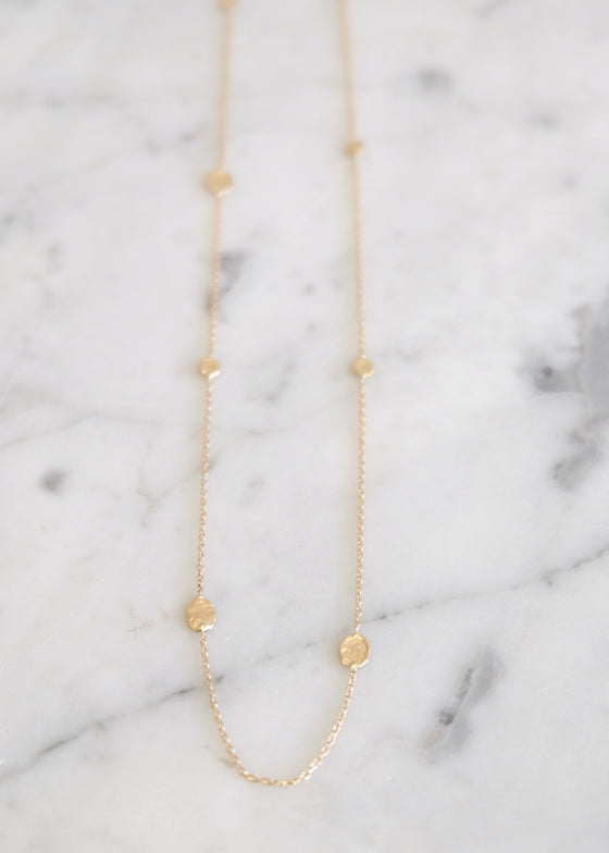 [GN834] 14k Gold Connected Flake Necklace