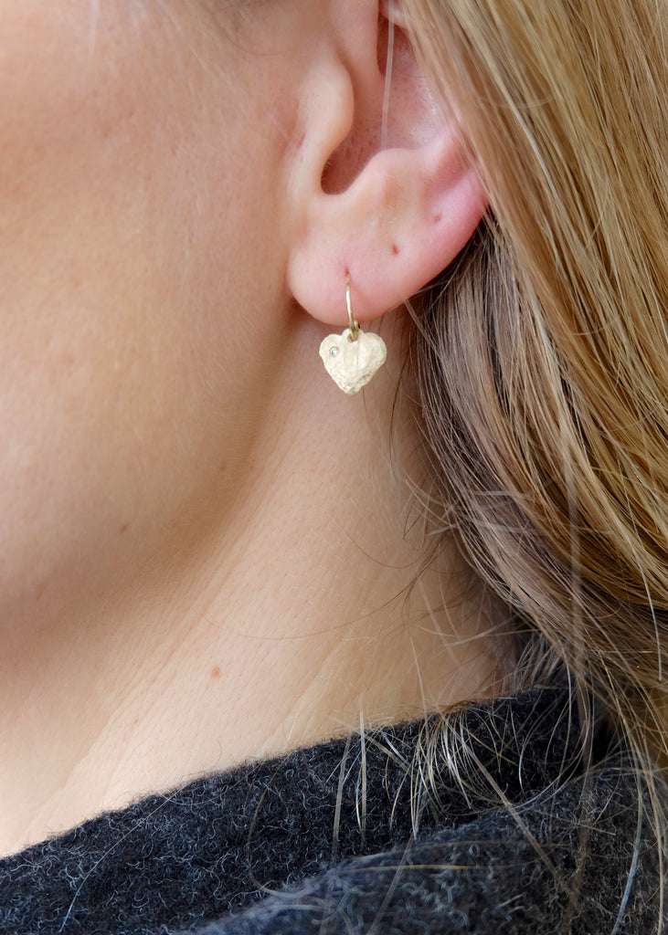 14k Gold + Diamond Hammered Heart Earrings