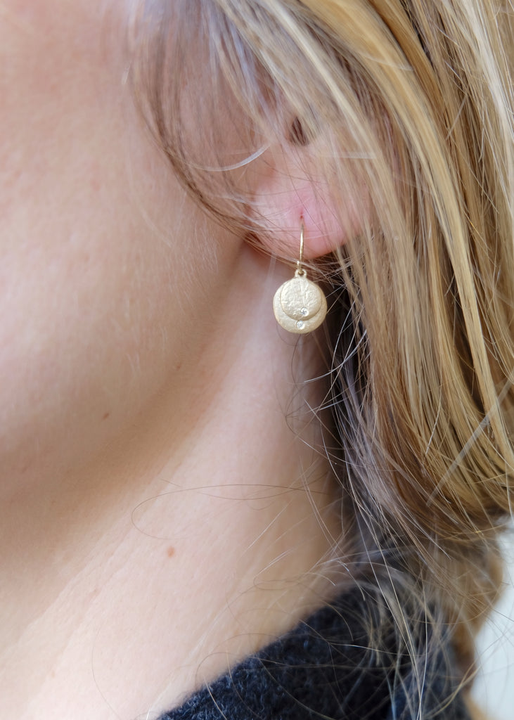 14k Gold Double Disc + Diamond Earrings