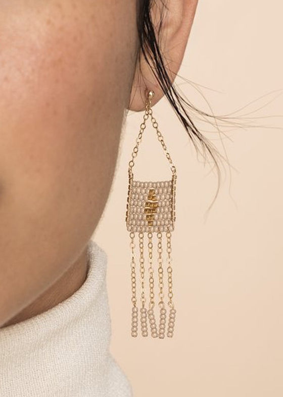 Sidai Designs | Diamond Pendant | 5 Tassel Earring White