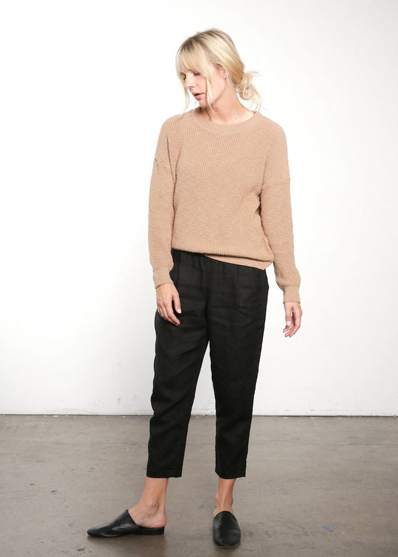 It Is Well | Pull On Pant | Black Italian Linen