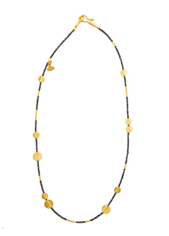Ara | Black Diamond + 24K Gold Disc Necklace