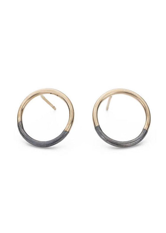 Colleen Mauer | Circle Post Earrings | Gold + Oxidized Silver