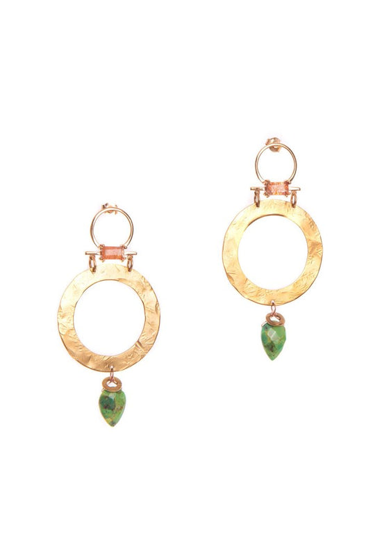 Hailey Gerrits | Belize Earrings | Green Turquoise + Sunstone