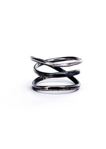 Heorth | Bound Ring | 3 Strand Oxidized Sterling Silver