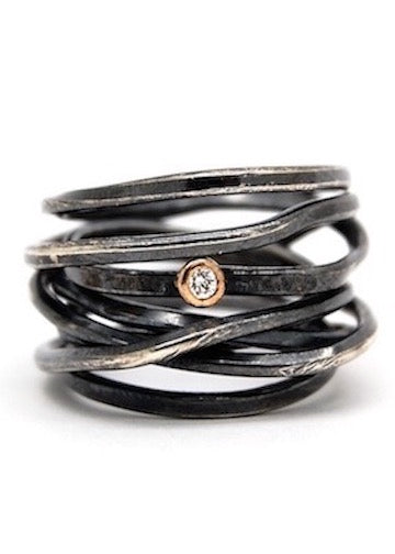 Heorth | Bound Ring | 7 Strand Oxidized Silver + Diamond