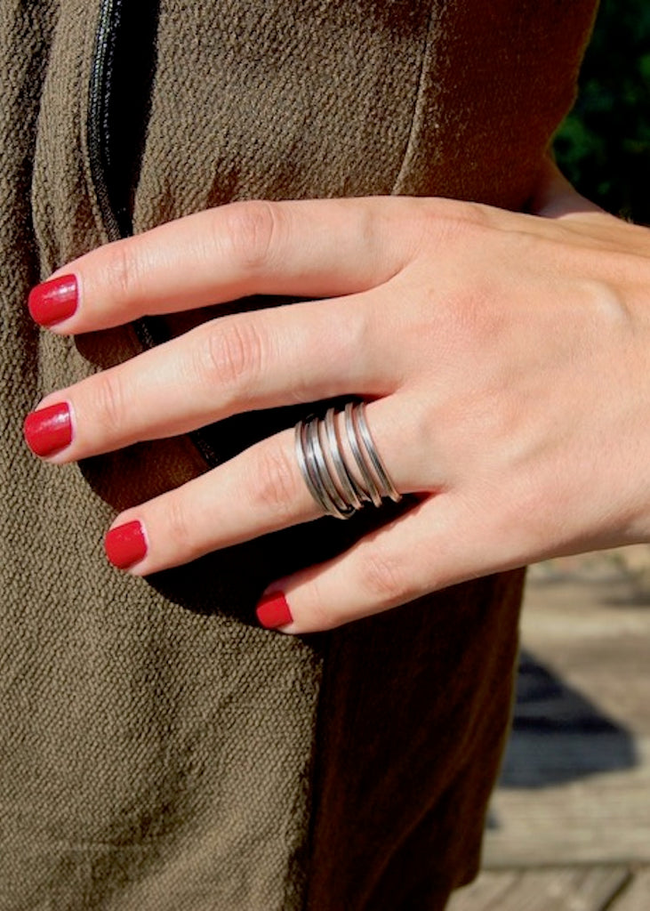 Heorth | Bound Ring | 5 Strand Oxidized Sterling Silver