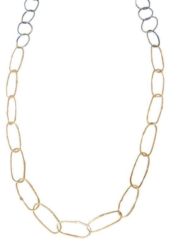 Kate Maller | Breezy Chain Link Necklace | 18K Gold + Oxidized Silver