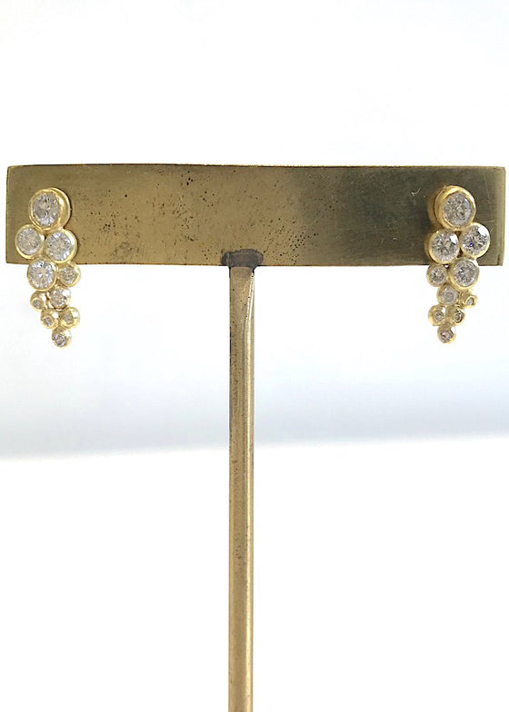 Jessica Weiss | Cluster Stud Earrings | 18K Gold + Diamonds