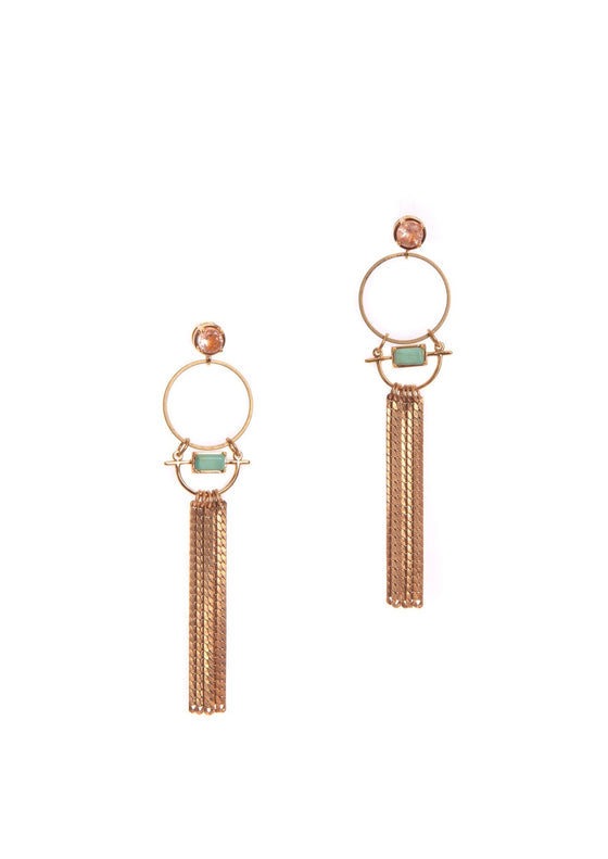 Venus Earrings | Green Turquoise + Sunstone