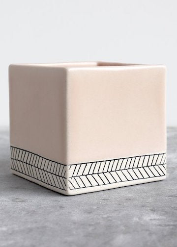 Elizabeth Benotti Ceramics | Large Herringbone Square Planter | Summer Sweet