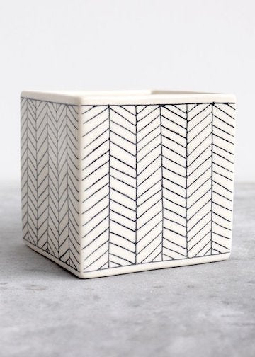 Elizabeth Benotti Ceramics | Large Herringbone Square Planter | White