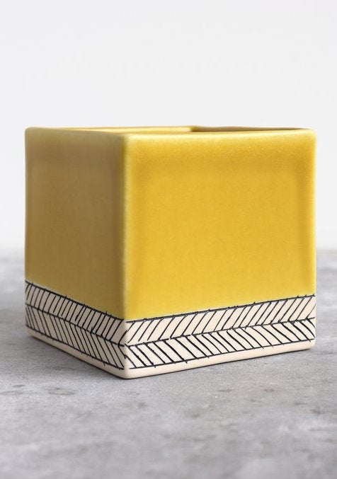 Elizabeth Benotti Ceramics | Large Herringbone Square Planter | Day Break