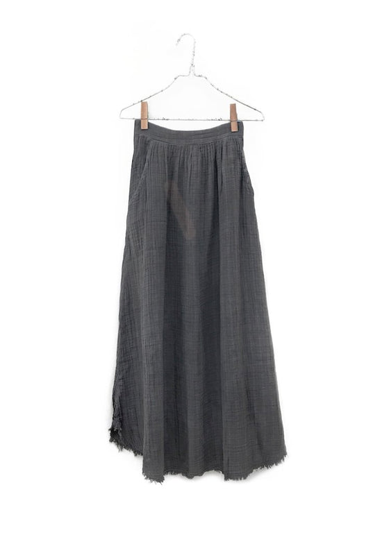 It Is Well | Full Frayed Skirt | Pewter