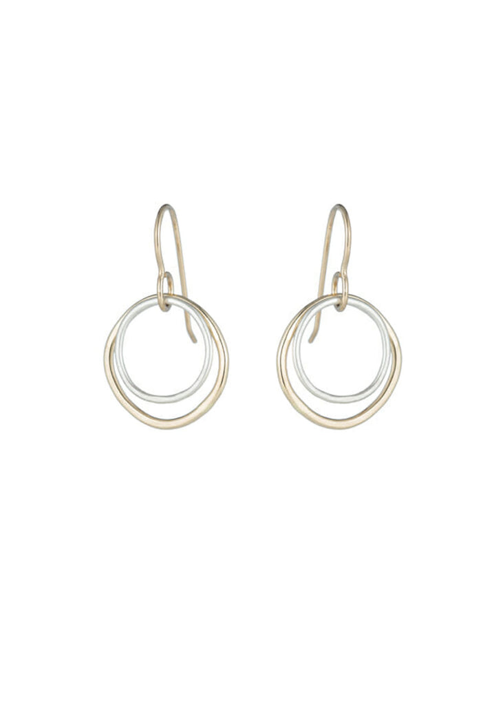 Gold + Silver Double Rounded-Square Earrings