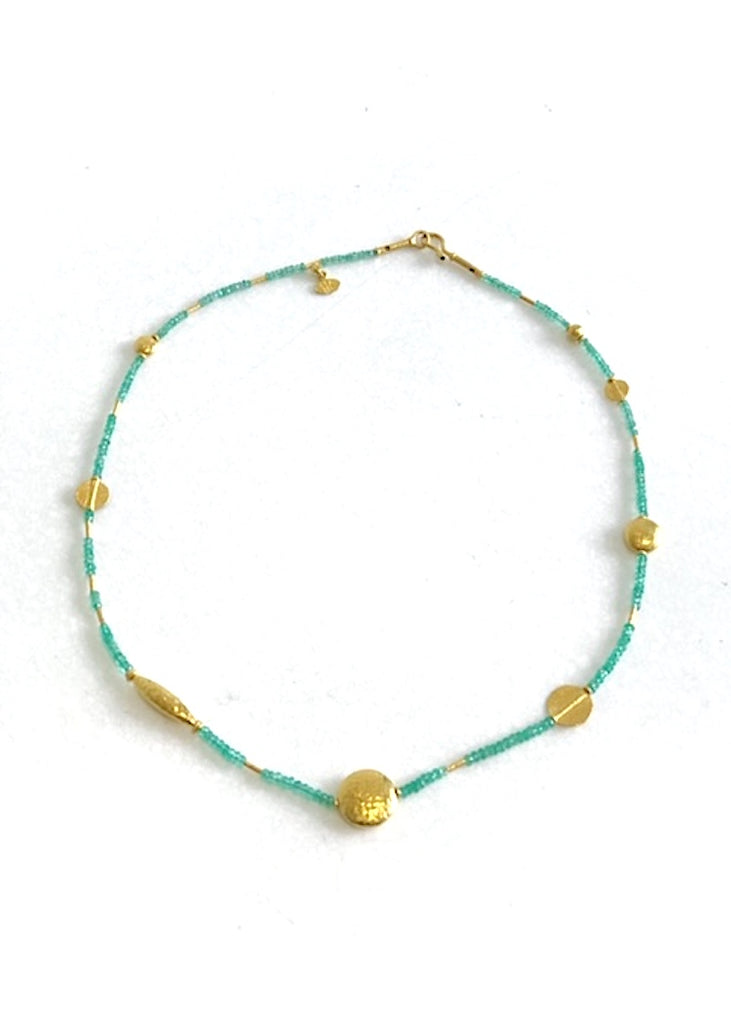 Ara | Emerald + 24K Gold Necklace