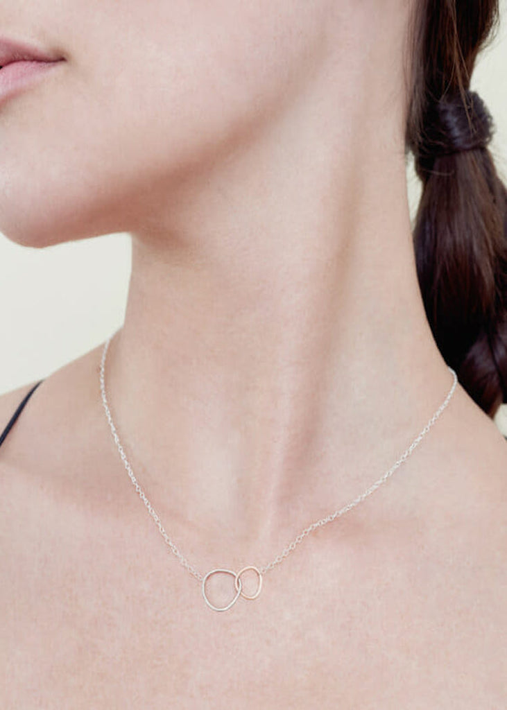 Colleen Mauer | Interlocking Necklace | 2 Loop Gold + Silver