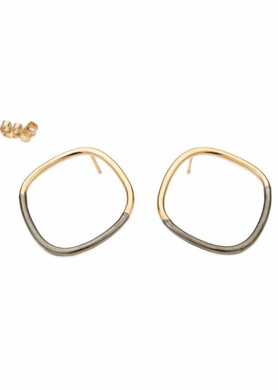Colleen Mauer | Rounded Square Earring | Gold + Oxidized Silver