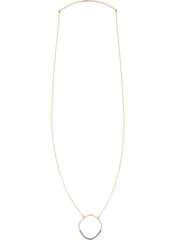 Colleen Mauer | Rounded Square Necklace | Gold + Oxidized Silver