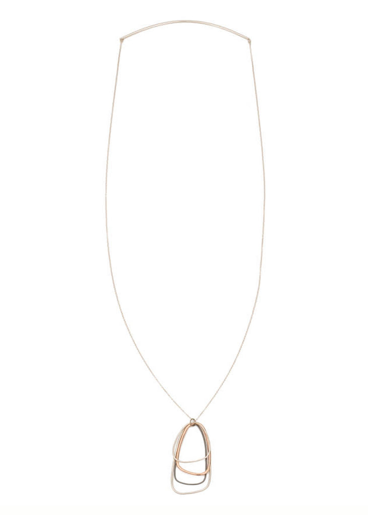 Colleen Mauer | Long Tri-Toned Triangle Necklace