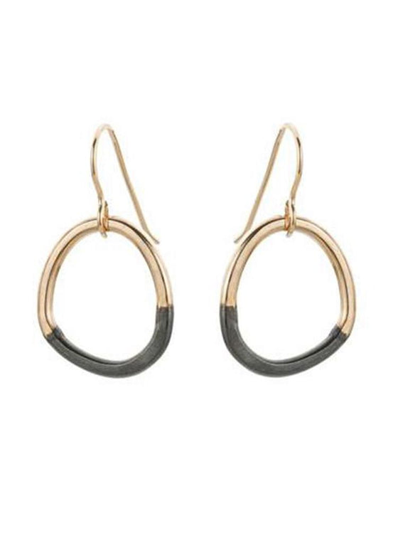 Colleen Mauer | Mini Stone Earrings | Gold + Oxidized Silver