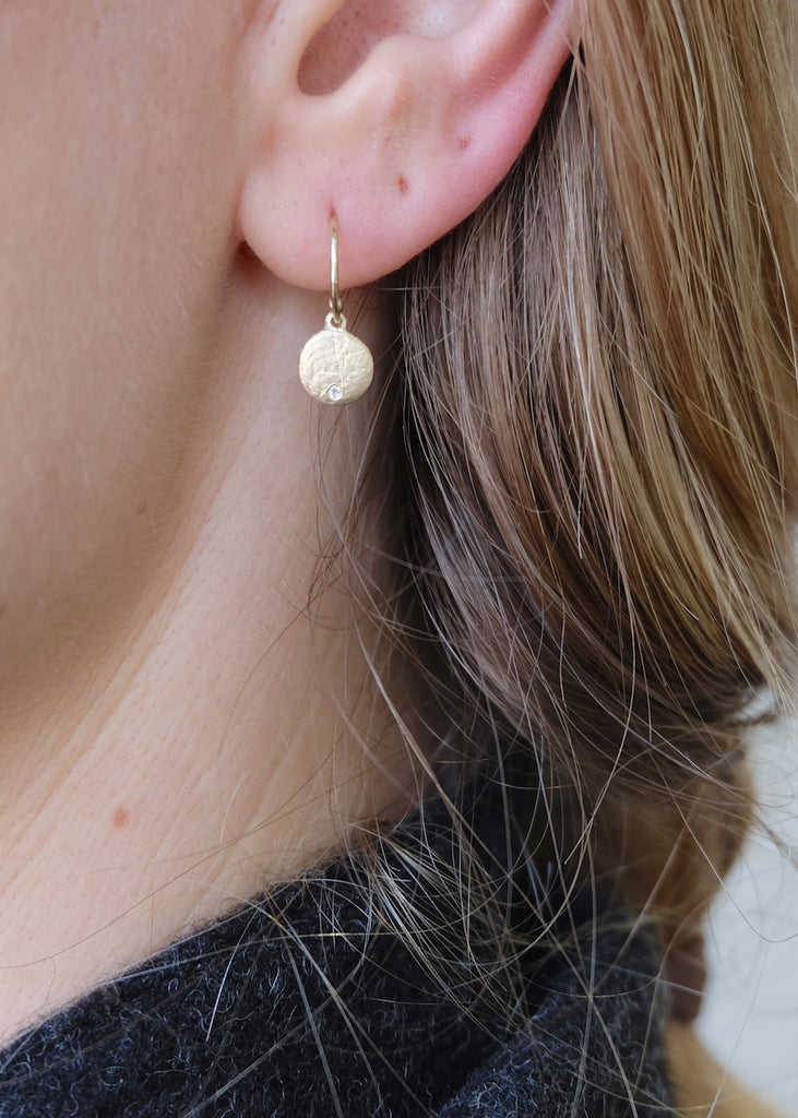 Medium 14k Gold + Diamond Disc Earring Modeled