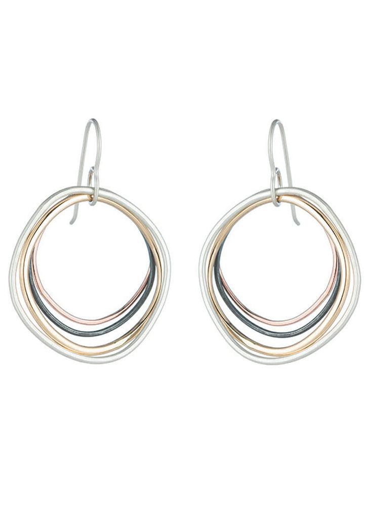 Colleen Mauer | Multi Square Hoop Earrings | Rose & Yellow Gold + Sterling Silver + Black Silver