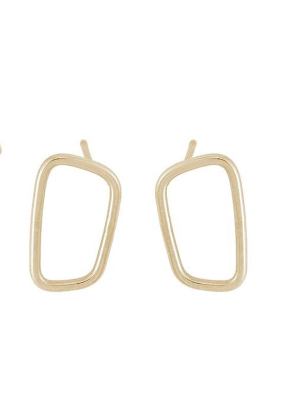 Colleen Mauer | Rectangle Stud Earrings | Gold