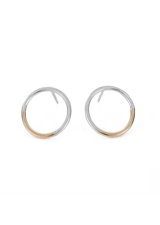 Colleen Mauer | Circle Post Earrings | Gold + Silver