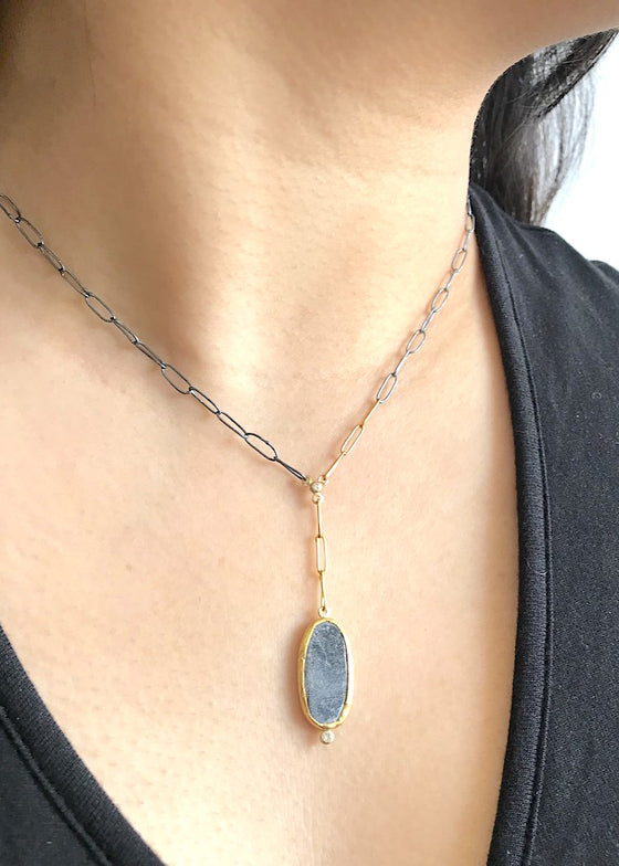 Jessica Weiss | Lariat Necklace | 22K Gold + Slate + Diamond